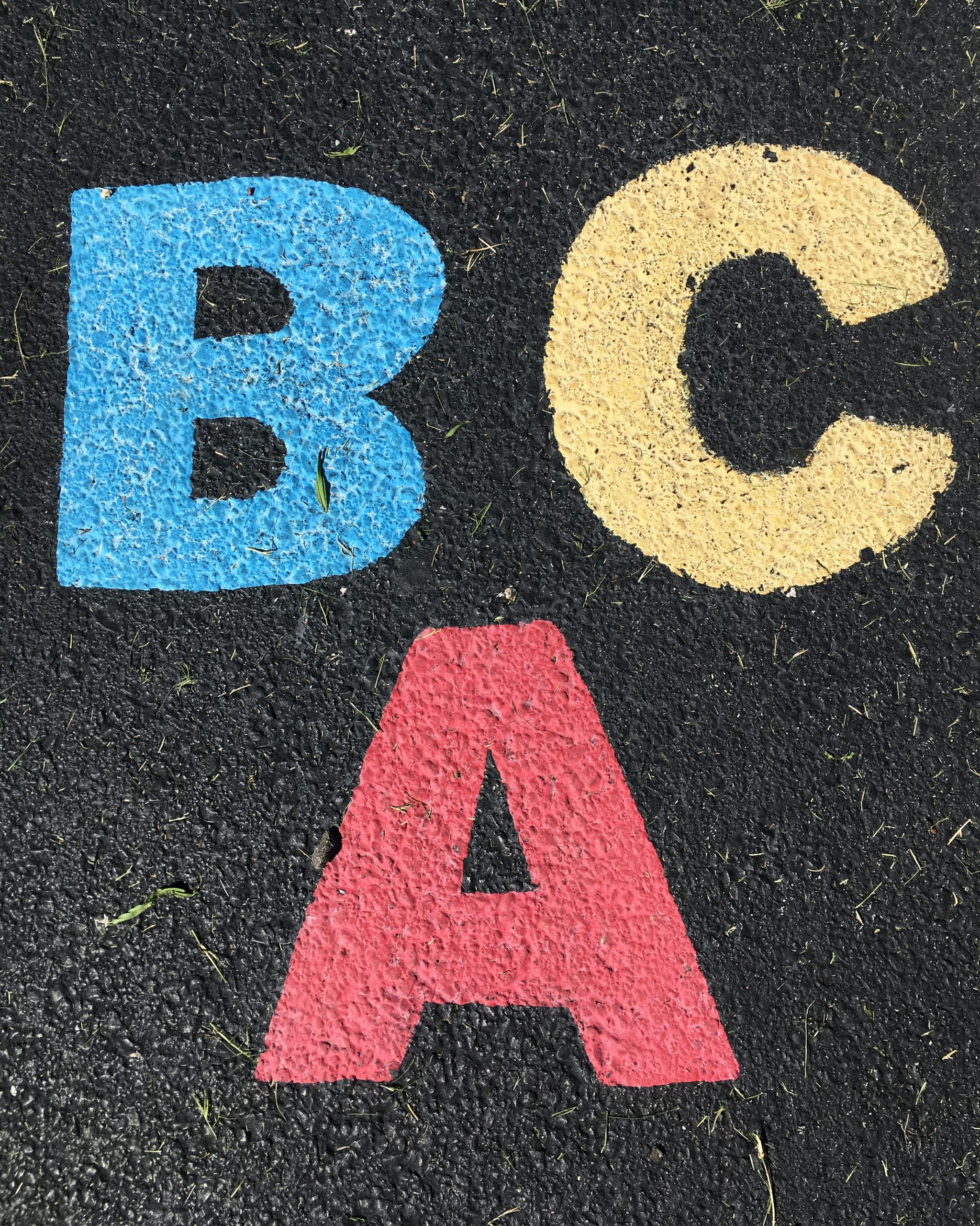 the letters A, B and C in block letters